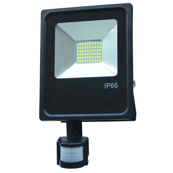 projecteur led slim extra plat noir exterieur 10w detecteur de mouvement c. Black Bedroom Furniture Sets. Home Design Ideas